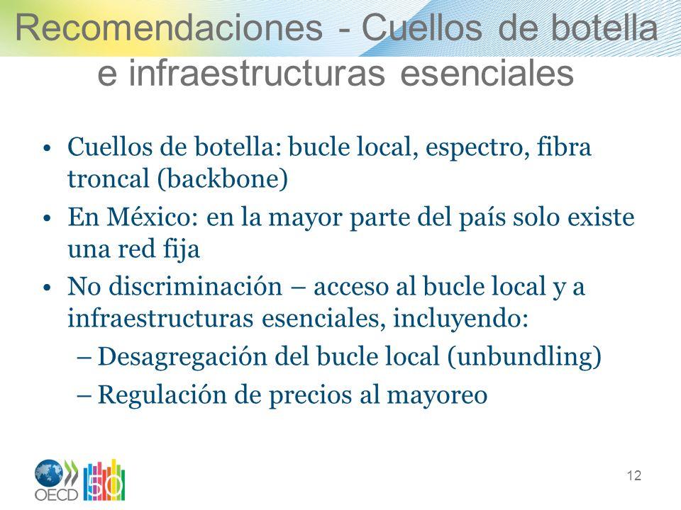 Recomendaciones - Cuellos de botella e infraestructuras esenciales