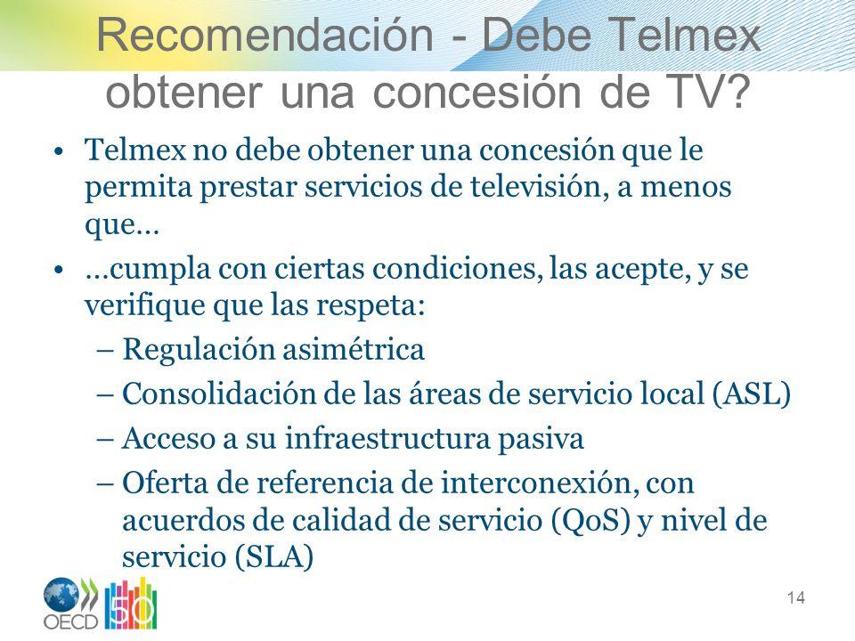 Recomendación - Debe Telmex obtener una concesión de TV