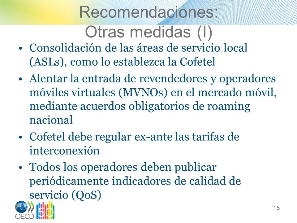 Recomendaciones: Otras medidas (I)