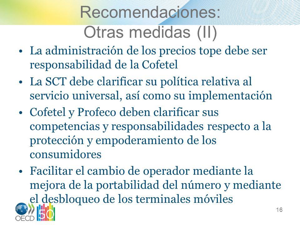Recomendaciones: Otras medidas (II)