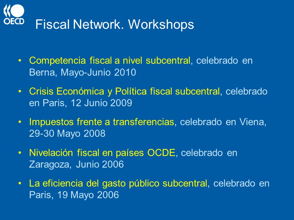 Fiscal Network. Workshops