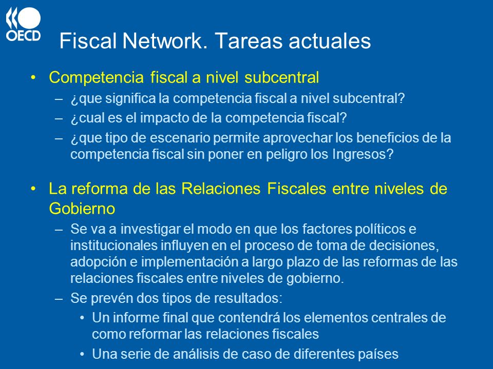 Fiscal Network. Tareas actuales