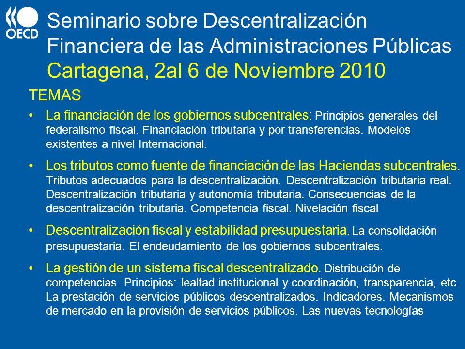 Seminario sobre Descentralización Financiera de las Administraciones Públicas Cartagena, 2al 6 de Noviembre 2010