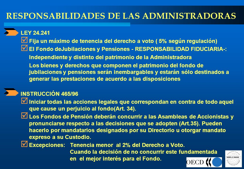 RESPONSABILIDADES DE LAS ADMINISTRADORAS