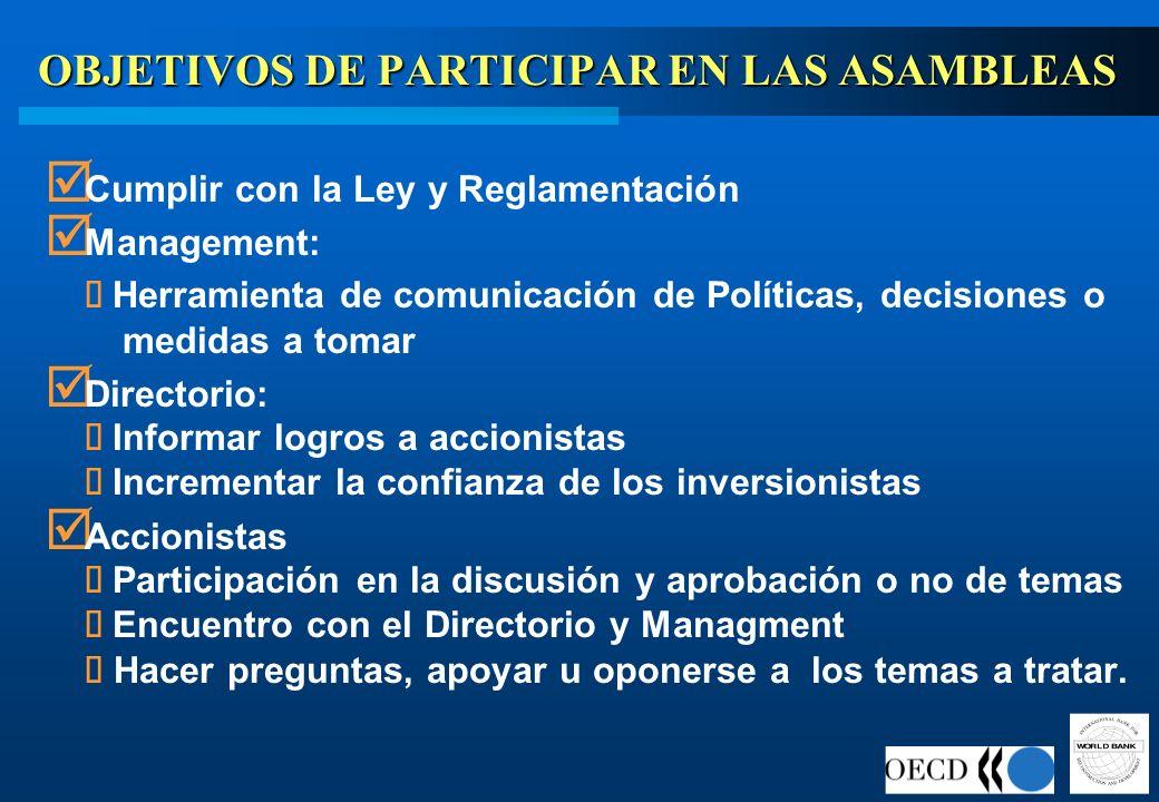 OBJETIVOS DE PARTICIPAR EN LAS ASAMBLEAS