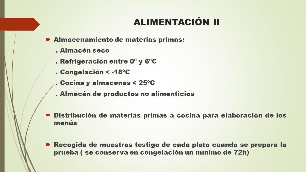 ALIMENTACIÓN II Almacenamiento de materias primas: . Almacén seco