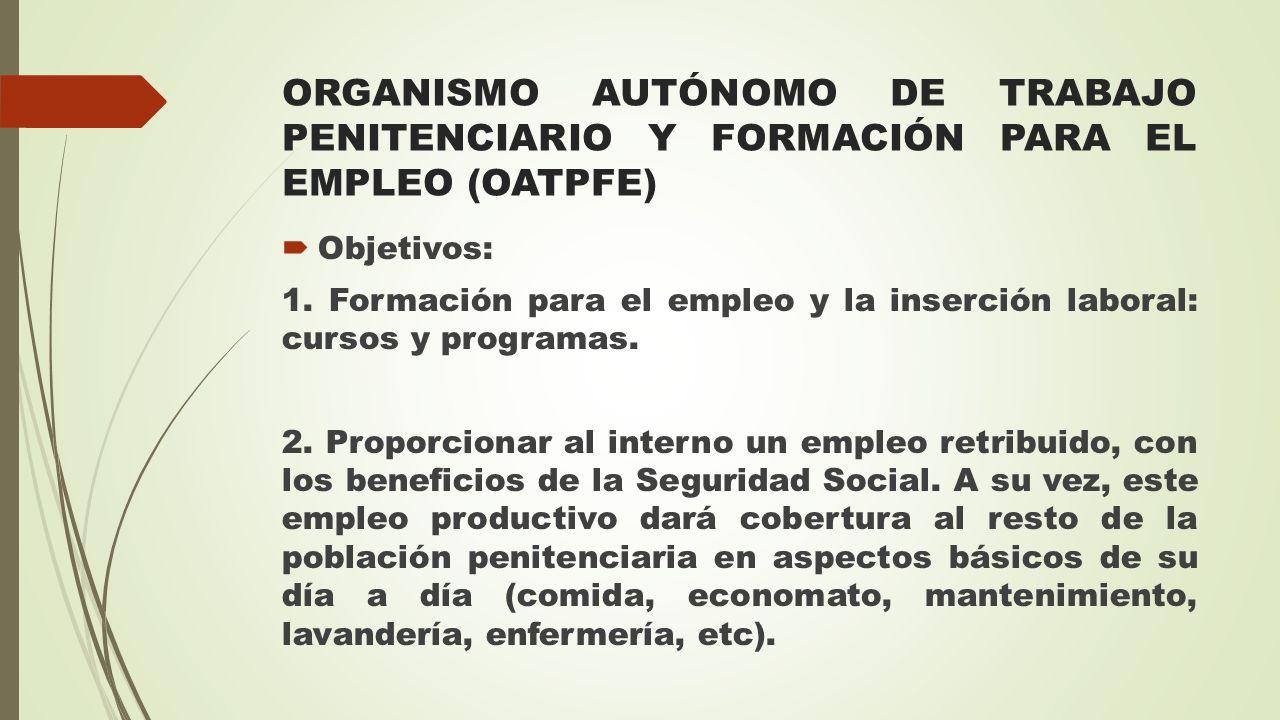ORGANISMO AUTÓNOMO DE TRABAJO PENITENCIARIO Y FORMACIÓN PARA EL EMPLEO (OATPFE)