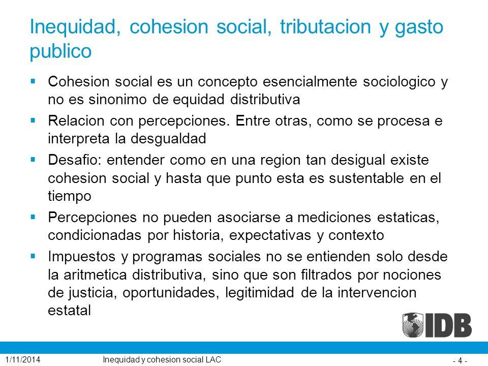 Inequidad, cohesion social, tributacion y gasto publico