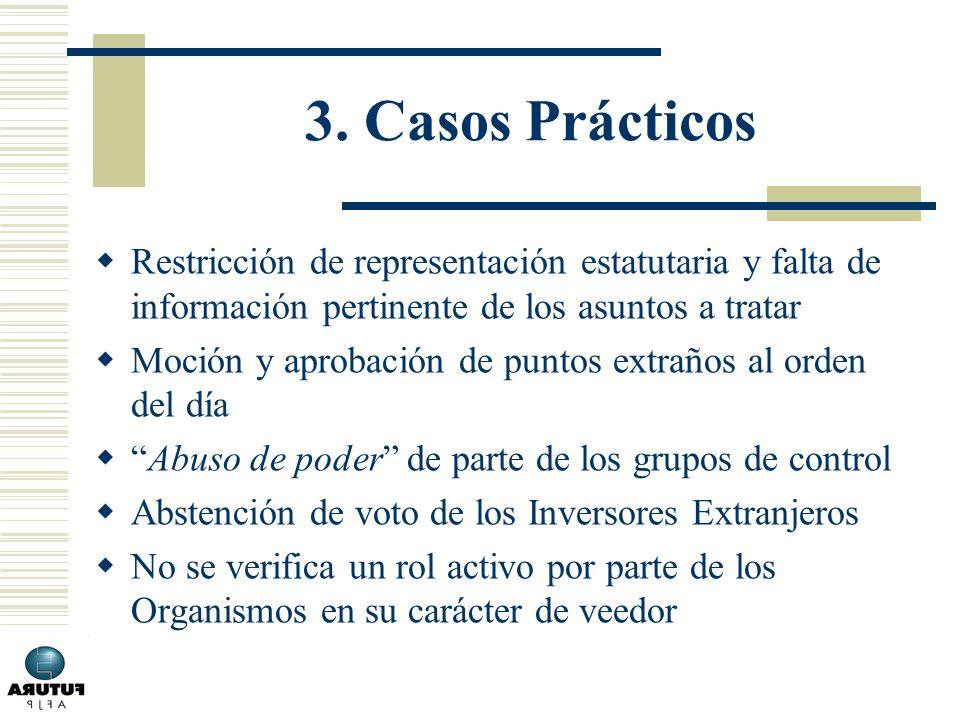 3. Casos Prácticos Restricción de representación estatutaria y falta de información pertinente de los asuntos a tratar.