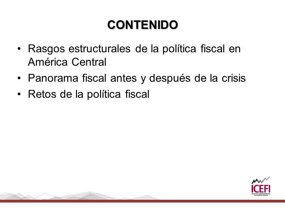 CONTENIDO Rasgos estructurales de la política fiscal en América Central. Panorama fiscal antes y después de la crisis.