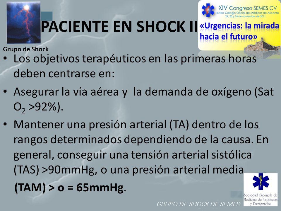 PACIENTE EN SHOCK II Grupo de Shock. Los objetivos terapéuticos en las primeras horas deben centrarse en: