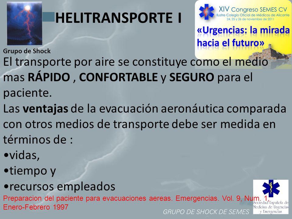 HELITRANSPORTE I Grupo de Shock. El transporte por aire se constituye como el medio mas RÁPIDO , CONFORTABLE y SEGURO para el paciente.