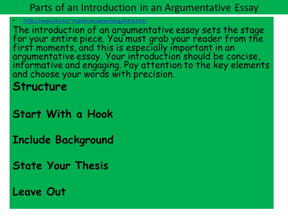 parts of an argumentative essay This resource provides tips for creating a thesis statement and examples of or an idea into its component parts an argumentative thesis statement.