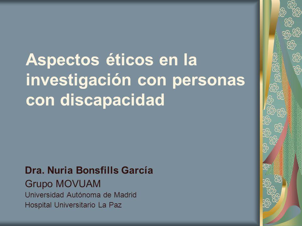 Aspectos éticos en la investigación con personas con discapacidad