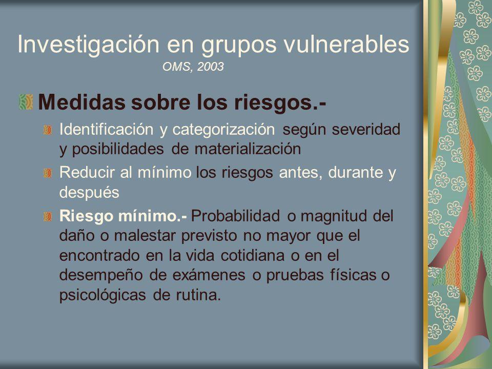 Investigación en grupos vulnerables