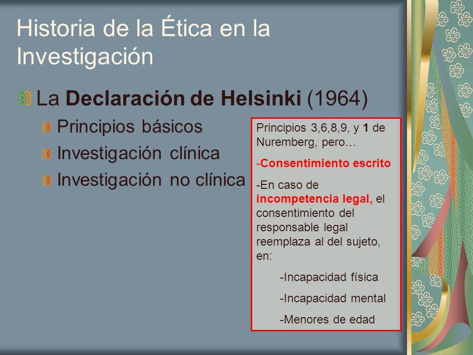 Historia de la Ética en la Investigación