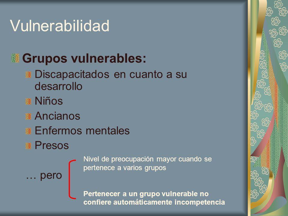 Vulnerabilidad Grupos vulnerables: