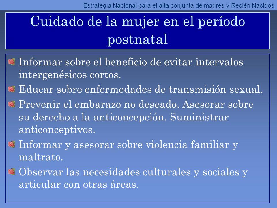 Cuidado de la mujer en el período postnatal