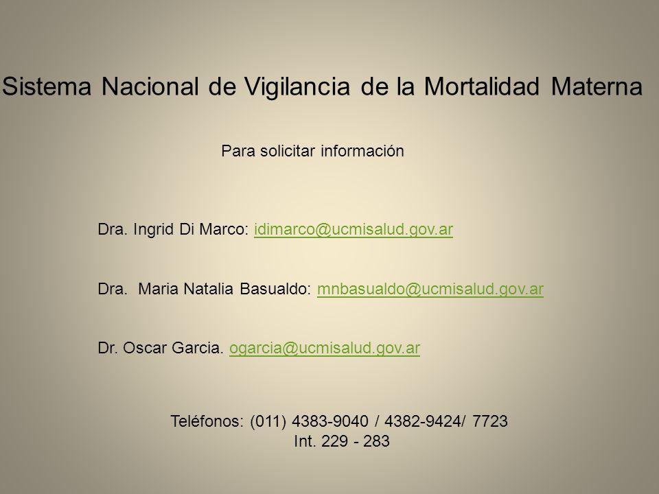 Sistema Nacional de Vigilancia de la Mortalidad Materna