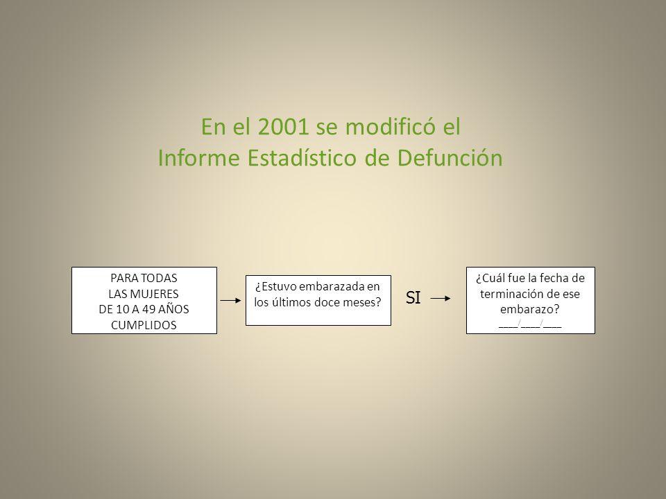 En el 2001 se modificó el Informe Estadístico de Defunción