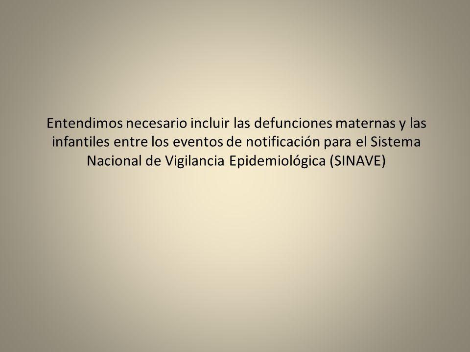 Entendimos necesario incluir las defunciones maternas y las infantiles entre los eventos de notificación para el Sistema Nacional de Vigilancia Epidemiológica (SINAVE)