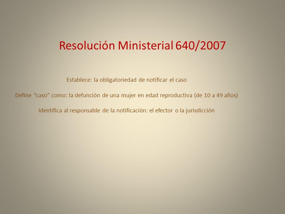 Resolución Ministerial 640/2007