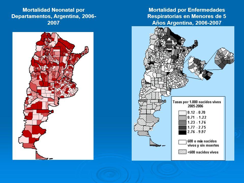 Mortalidad Neonatal por Departamentos, Argentina, 2006-2007