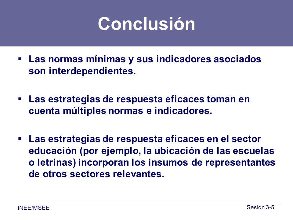 Conclusión Las normas mínimas y sus indicadores asociados son interdependientes.