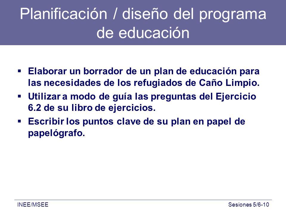 Planificación / diseño del programa de educación