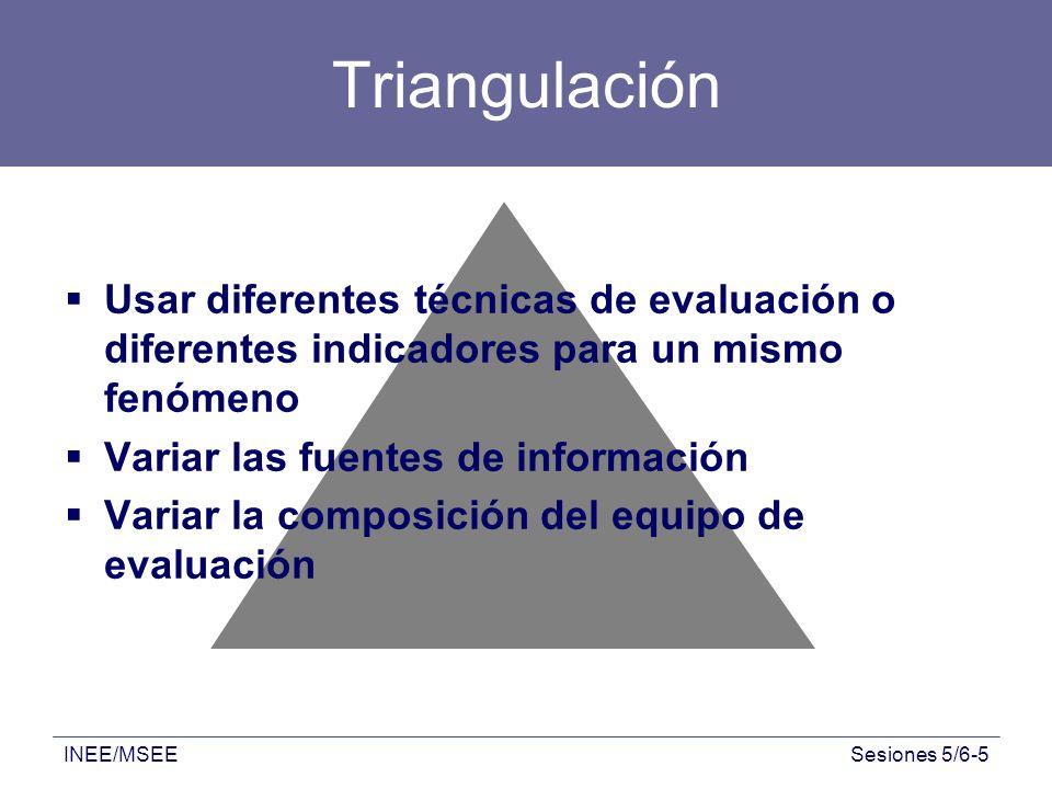 Triangulación Usar diferentes técnicas de evaluación o diferentes indicadores para un mismo fenómeno.