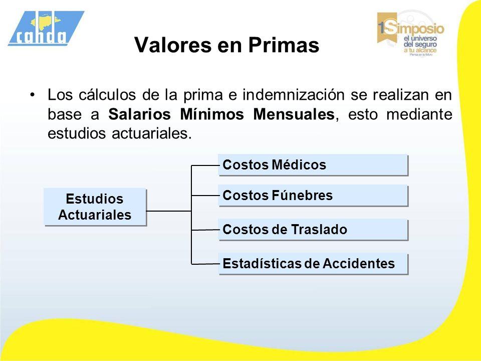 Valores en Primas Los cálculos de la prima e indemnización se realizan en base a Salarios Mínimos Mensuales, esto mediante estudios actuariales.