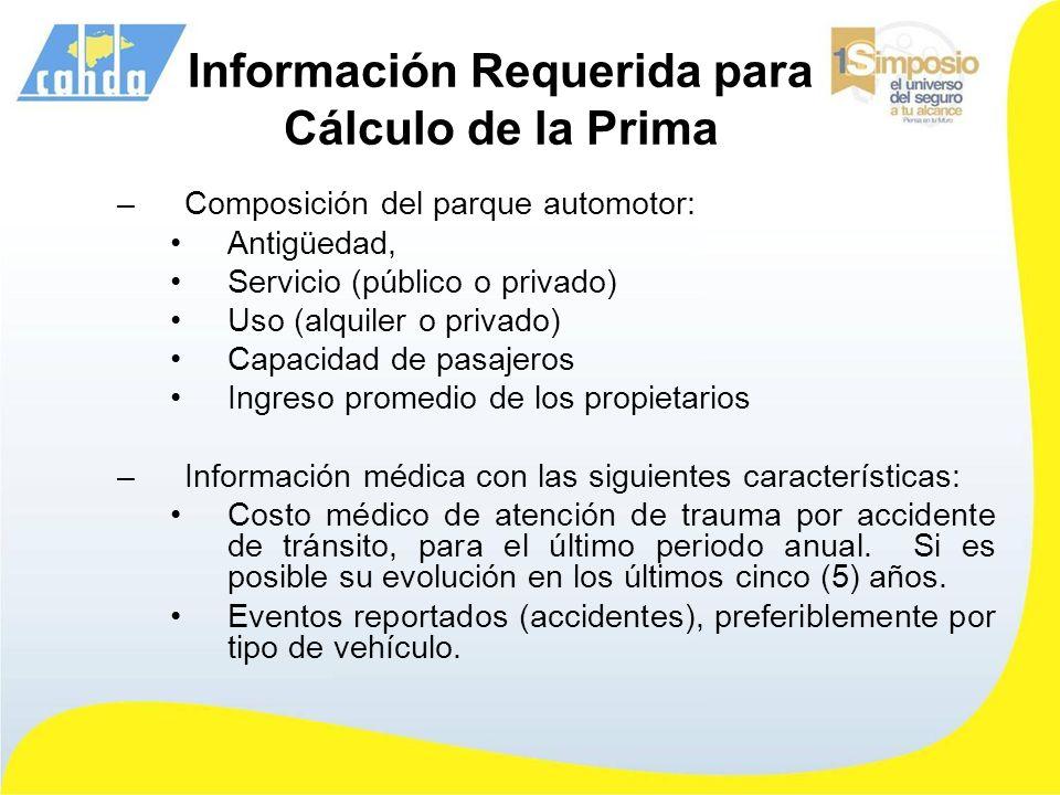 Información Requerida para Cálculo de la Prima