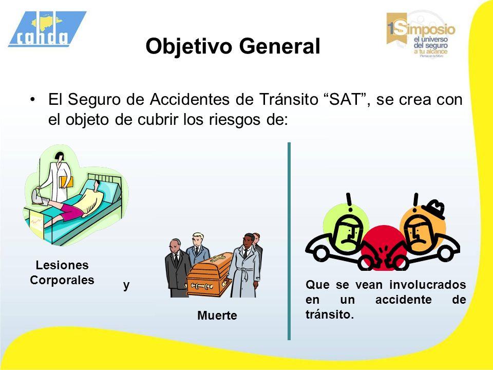 Objetivo General El Seguro de Accidentes de Tránsito SAT , se crea con el objeto de cubrir los riesgos de: