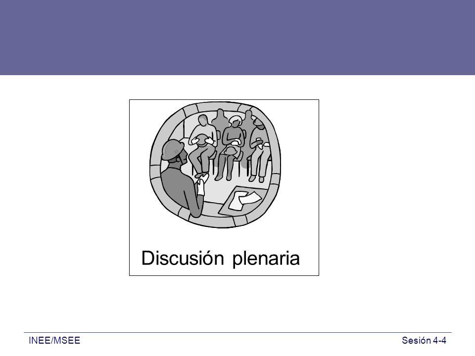 Discusión plenaria Discusión plenaria INEE/MSEE