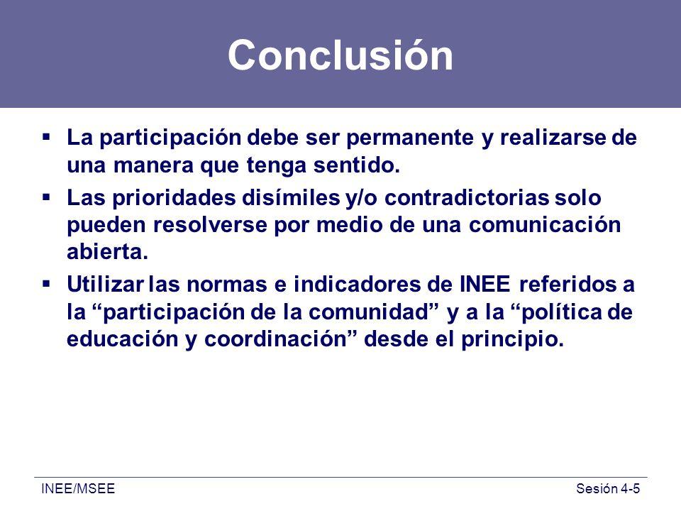 Conclusión La participación debe ser permanente y realizarse de una manera que tenga sentido.