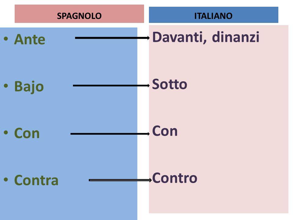 Davanti, dinanzi Sotto Con Contro Ante Bajo Con Contra