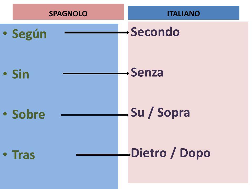 Secondo Senza Su / Sopra Dietro / Dopo Según Sin Sobre Tras