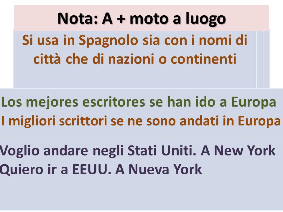 Si usa in Spagnolo sia con i nomi di città che di nazioni o continenti