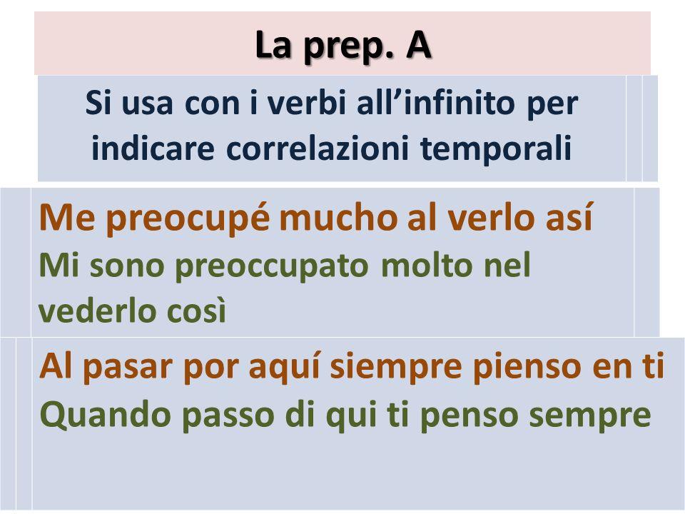 Si usa con i verbi all'infinito per indicare correlazioni temporali