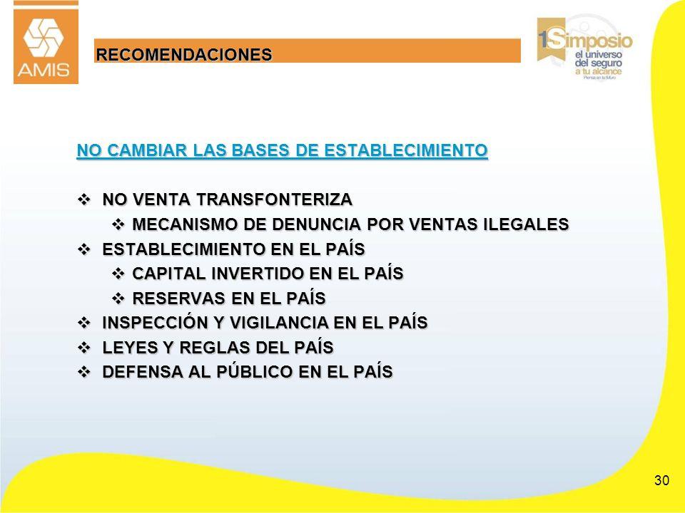 RECOMENDACIONES NO CAMBIAR LAS BASES DE ESTABLECIMIENTO. NO VENTA TRANSFONTERIZA. MECANISMO DE DENUNCIA POR VENTAS ILEGALES.