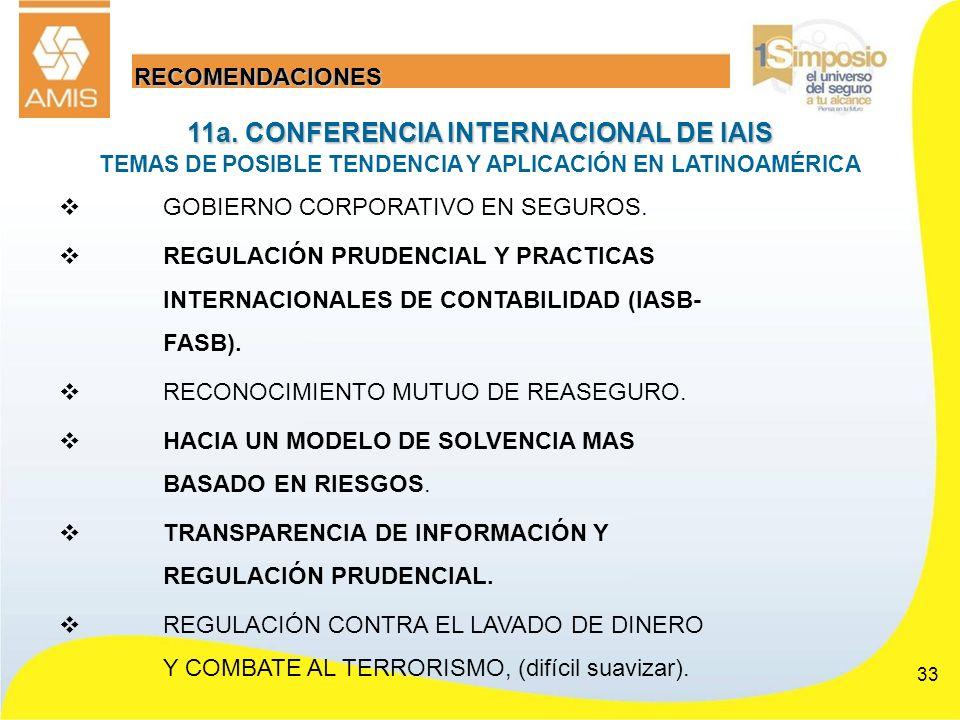 RECOMENDACIONES 11a. CONFERENCIA INTERNACIONAL DE IAIS TEMAS DE POSIBLE TENDENCIA Y APLICACIÓN EN LATINOAMÉRICA.
