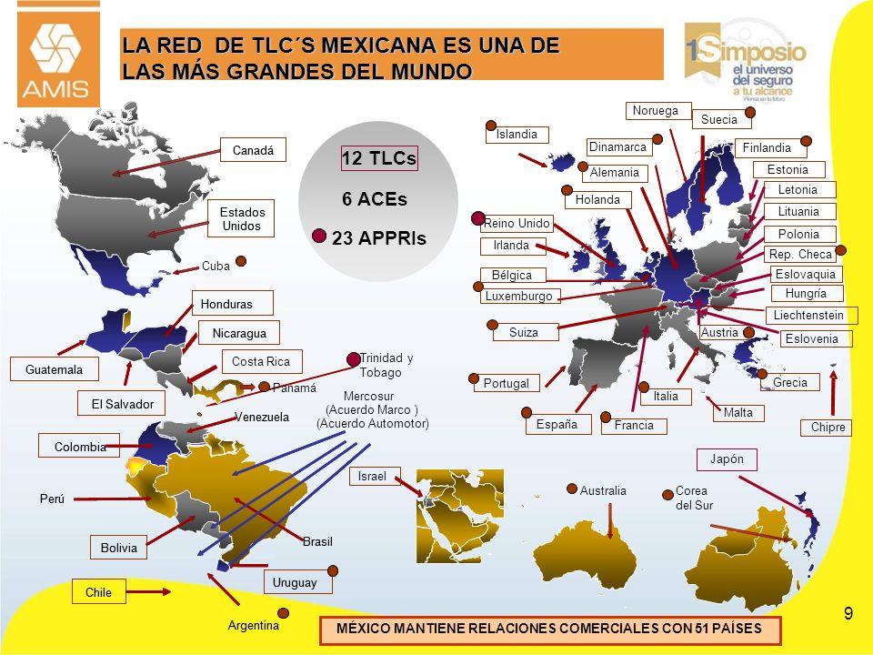 MÉXICO MANTIENE RELACIONES COMERCIALES CON 51 PAÍSES