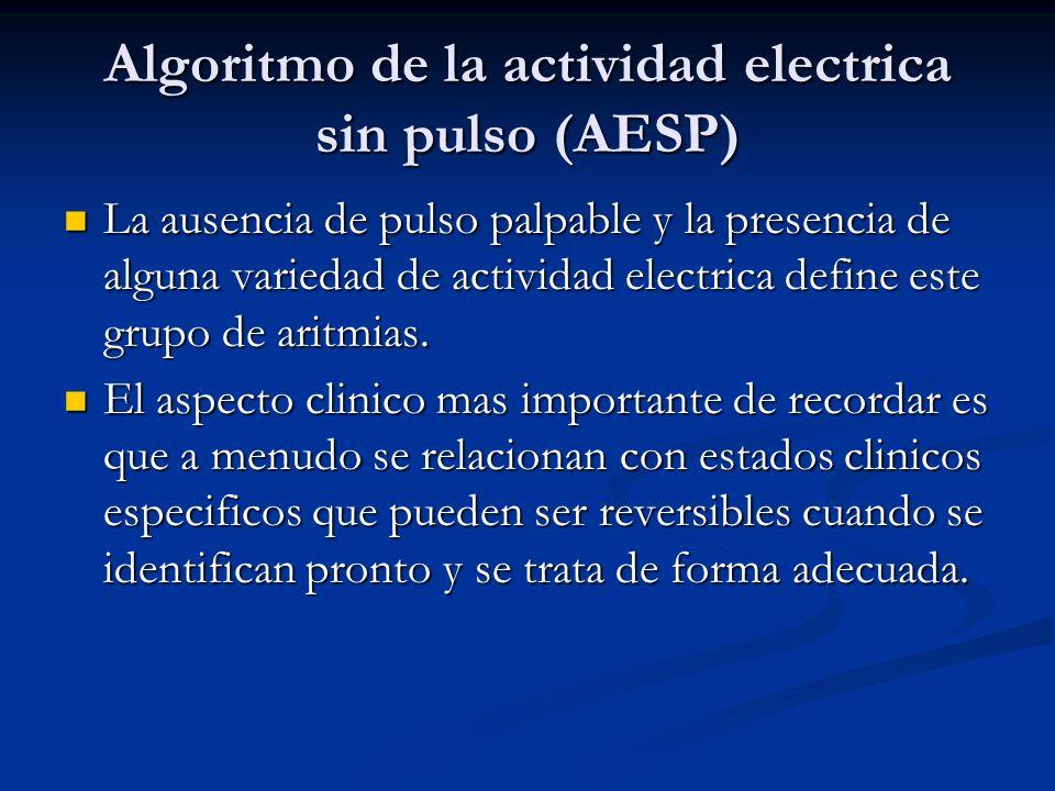 Algoritmo de la actividad electrica sin pulso (AESP)