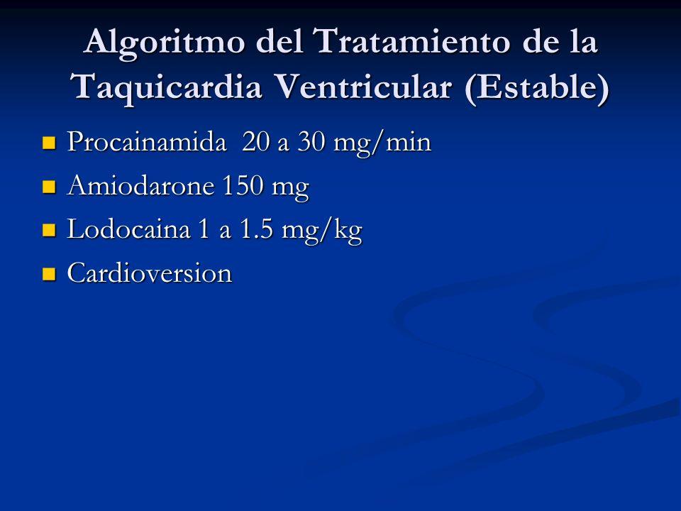 Algoritmo del Tratamiento de la Taquicardia Ventricular (Estable)