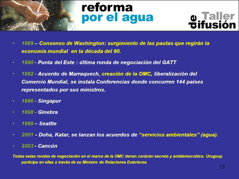 1990 - Punta del Este : última ronda de negociación del GATT