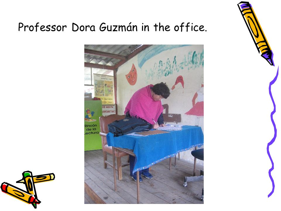 Professor Dora Guzmán in the office.