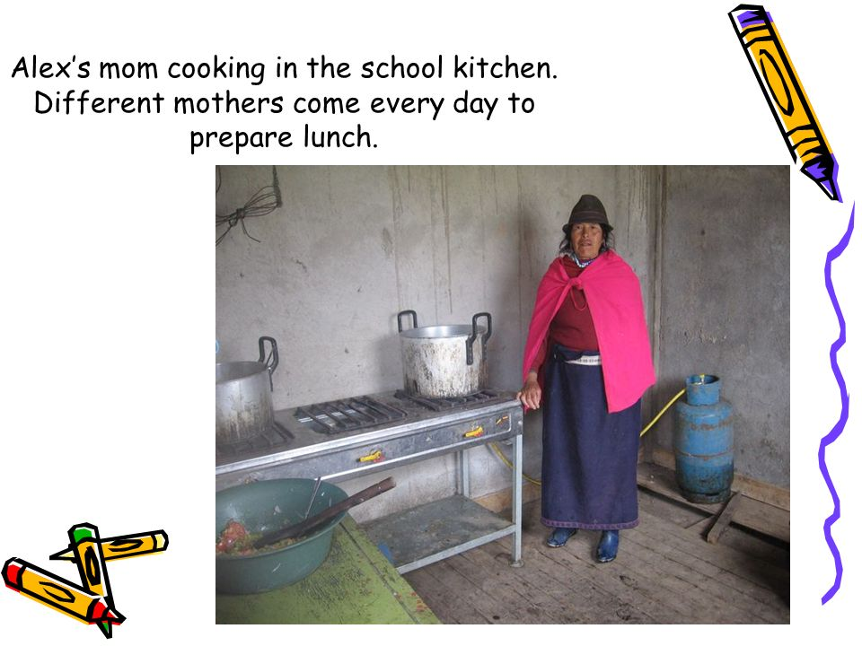Alex's mom cooking in the school kitchen