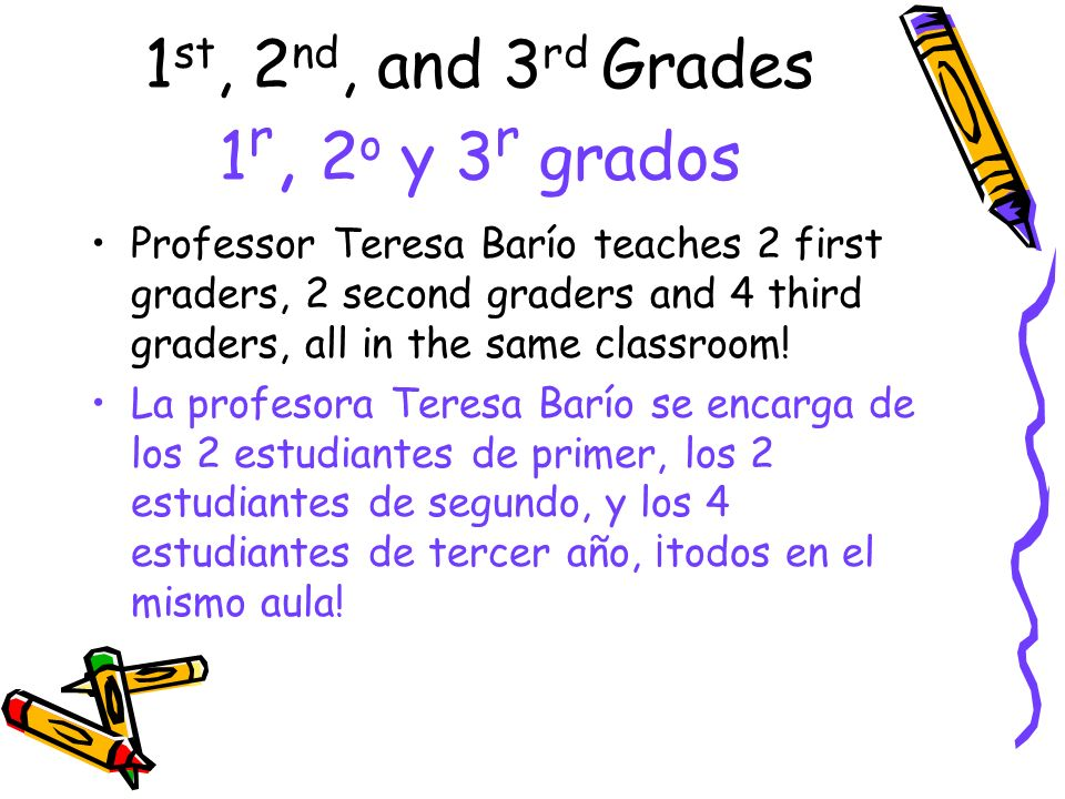 1st, 2nd, and 3rd Grades 1r, 2o y 3r grados