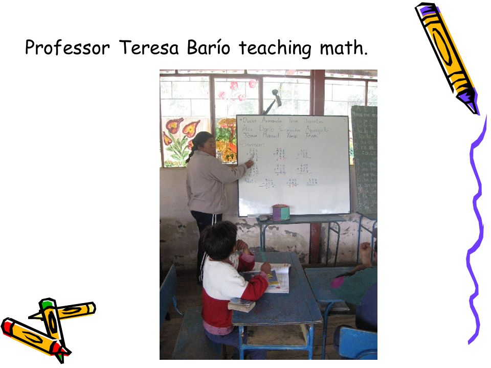 Professor Teresa Barío teaching math.