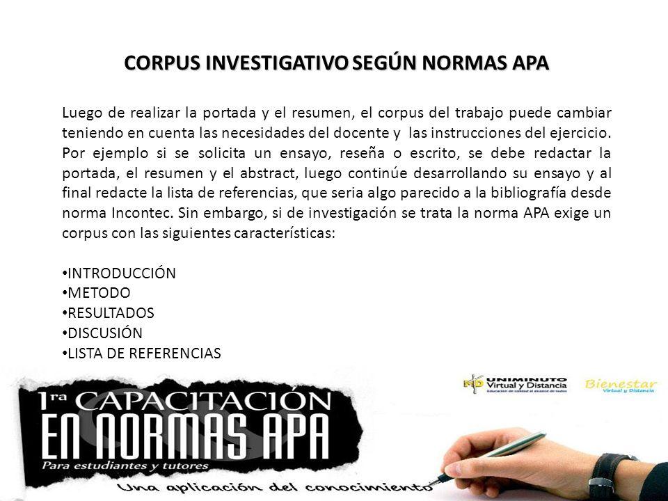 CORPUS INVESTIGATIVO SEGÚN NORMAS APA